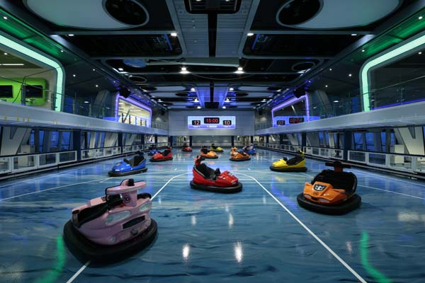 Indoor bumper cars for family entertainment centers